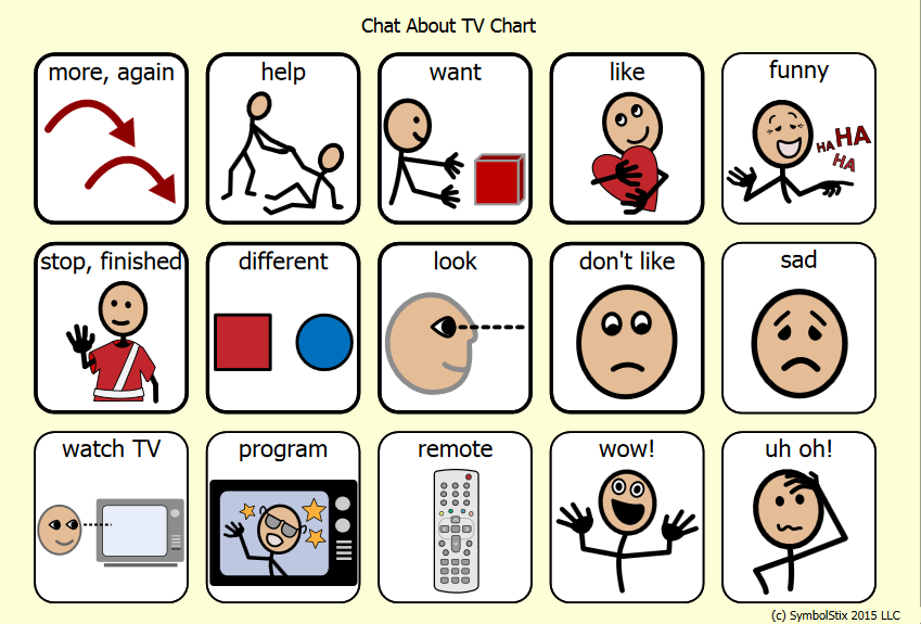 Symbol charts for watching television